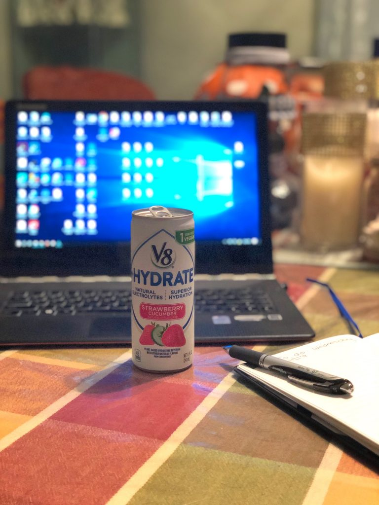 Stay on track during the holiday season with #V8HYDRATE! The natural electrolytes from vegetables will help you recharge during those long shopping trips. #ad #DrinkUp @V8