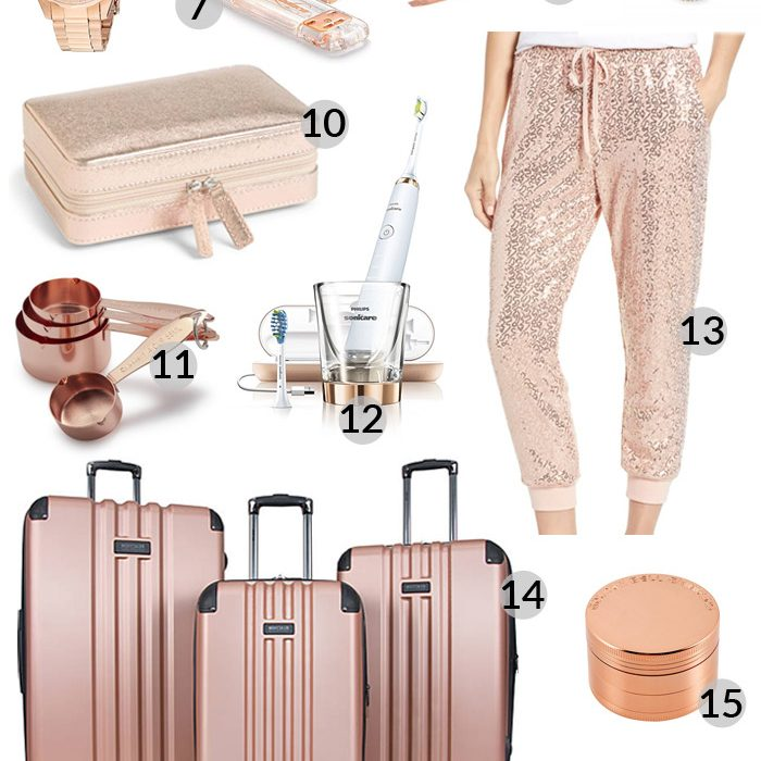Holiday Gift Guide: Best Rose Gold Gifts! Rose Gold is such a pretty color, and it's so on trend. Another great set of options for that woman in your life! #GFFHolidayGiftGuide