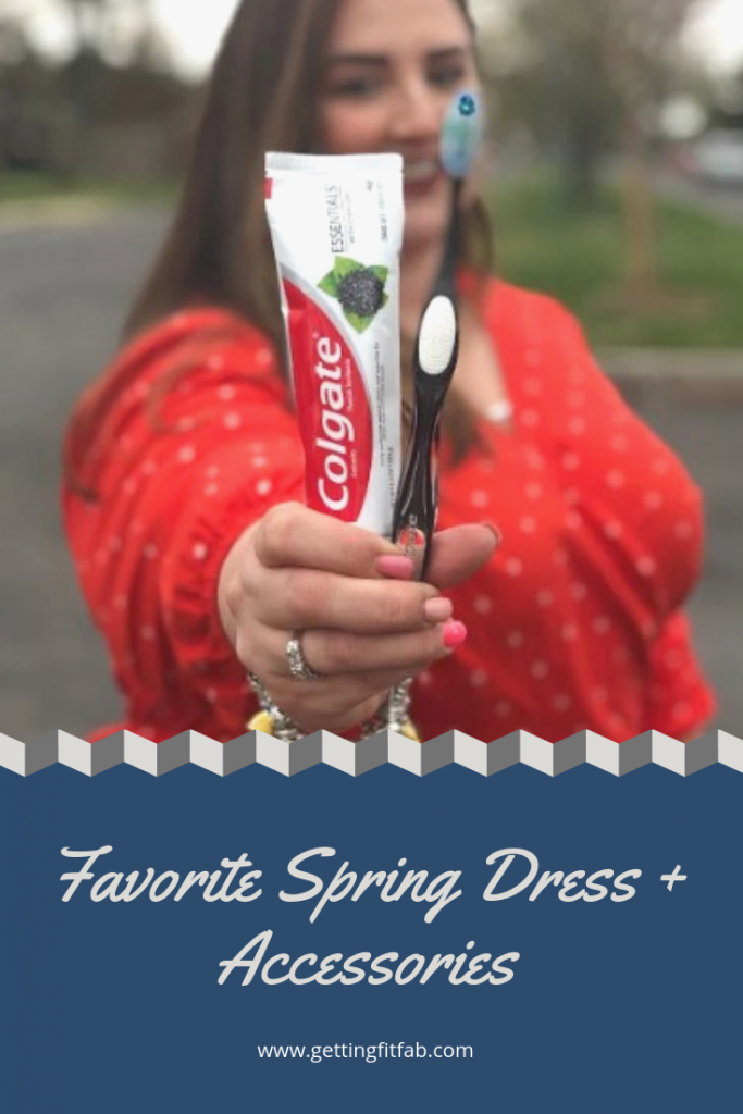 #ad| Are you ready for Spring!? I'm sharing my favorite dress and accessories, you'll never guess the last one! New Colgate Essentials Toothpaste with Charcoal from Walmart! @Colgate #ColgatePartner #ColgateEssentials