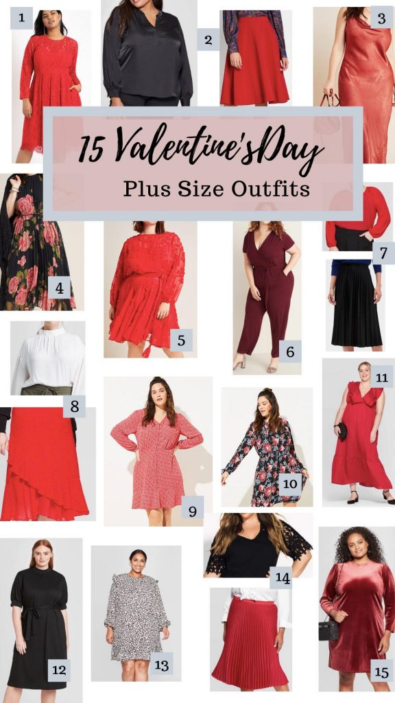 I'm shaing 15 Valentine's Day Plus Size Outfits on the blog! It has a variety of picks to fit everyone's budget. No matter what you're doing you can find an outfit! #ValentinesDay